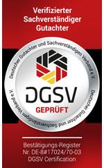 Zerifizierter Sachverständiger / Gutachter des DGuSV e.V. für KFZ Schäden und Bewertung